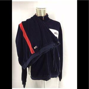 Fila Velour 80's XL Navy Blue Red Jogging Suit